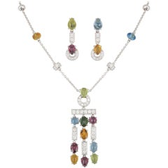 Bulgari White Gold Multi-Gem and Diamond Allegra Necklace and Earring Suite