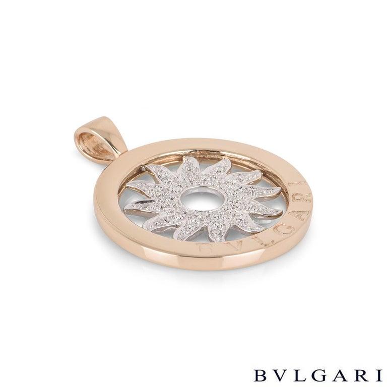 Round Cut Bulgari White and Rose Gold Diamond Tondo Pendant For Sale