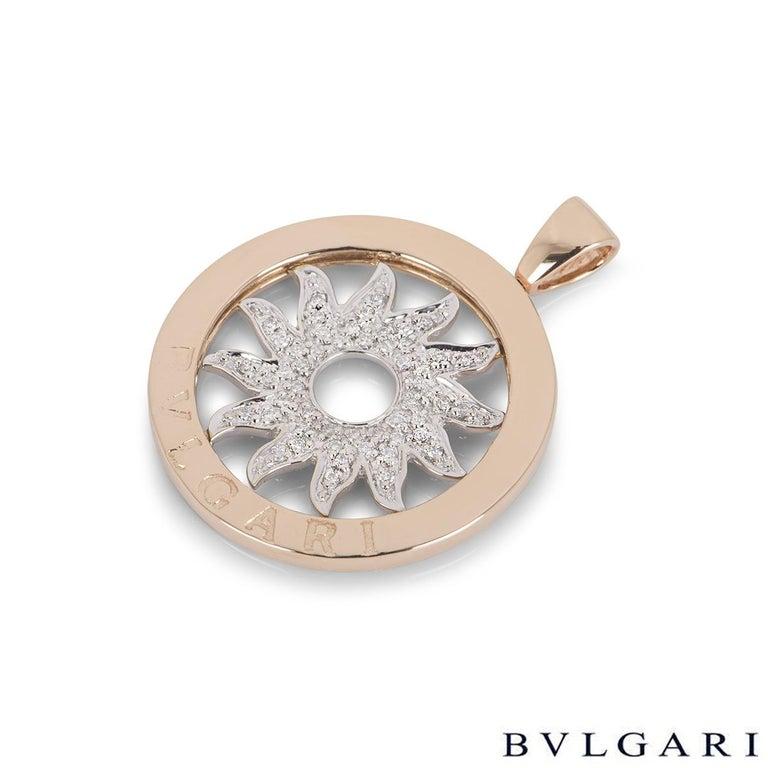 Bulgari White and Rose Gold Diamond Tondo Pendant In Excellent Condition For Sale In London, GB