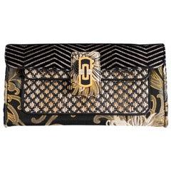 Bulgari Women's Clutch Bag with Golden Floral Details
