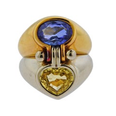 Bulgari Yellow Blue Sapphire Gold Ring