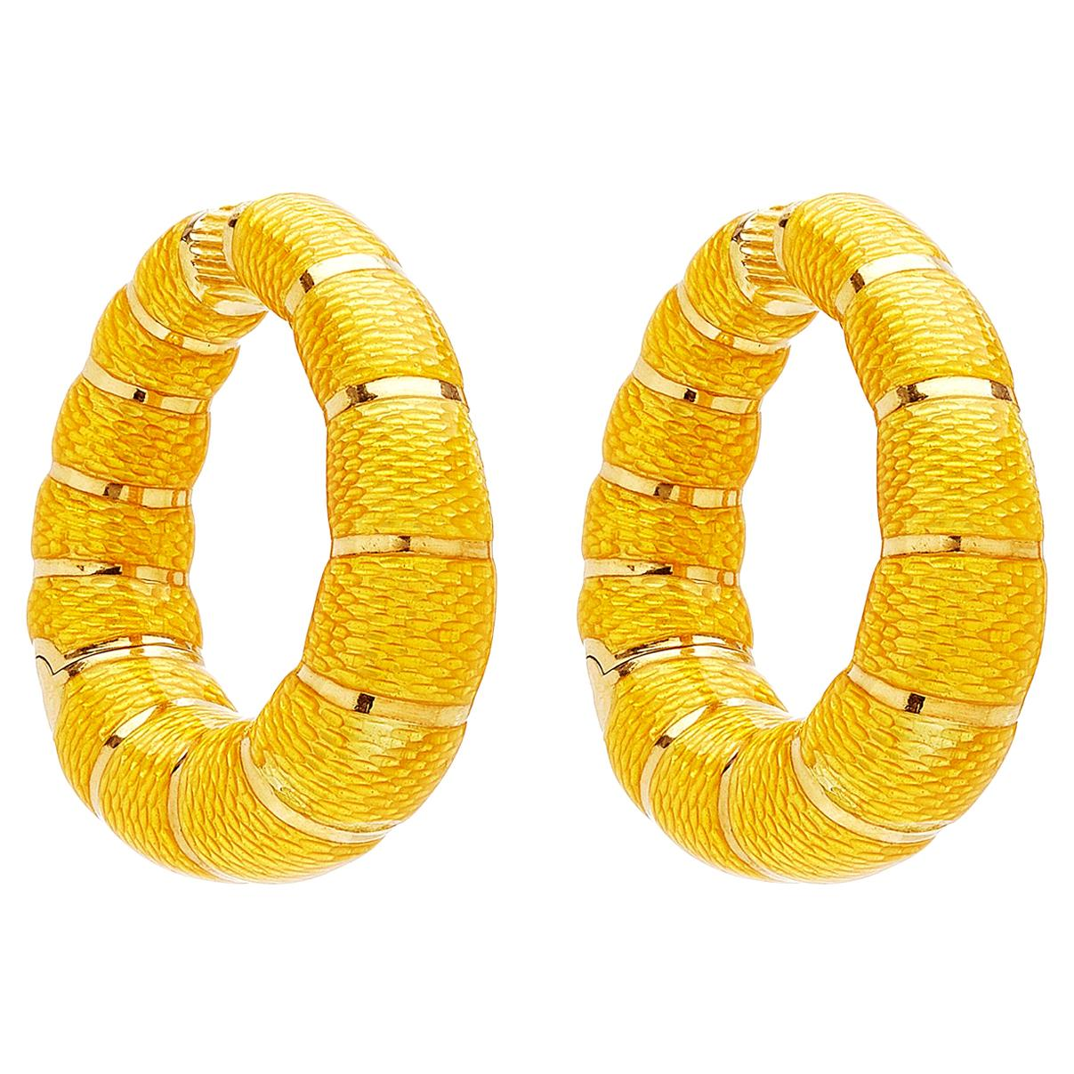 Bulgari Yellow Enamel Hoop Earrings