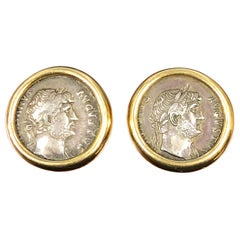 Bulgari Yellow Gold and Ancient Coin Earrings