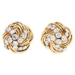 Bulgari Yellow Gold and Diamond Swirl Ear Clips