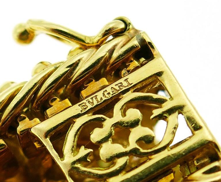 Bulgari Yellow Gold Bracelet Pair 1960s Bvlgari with Diamond Ruby Emerald 6