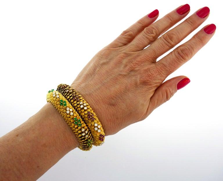 Bulgari Yellow Gold Bracelet Pair 1960s Bvlgari with Diamond Ruby Emerald In Good Condition In Beverly Hills, CA