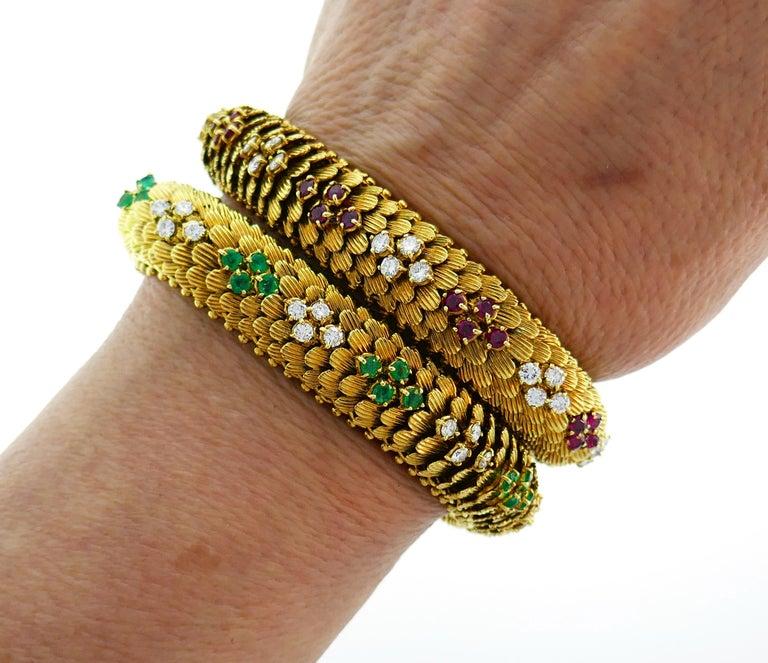Women's Bulgari Yellow Gold Bracelet Pair 1960s Bvlgari with Diamond Ruby Emerald