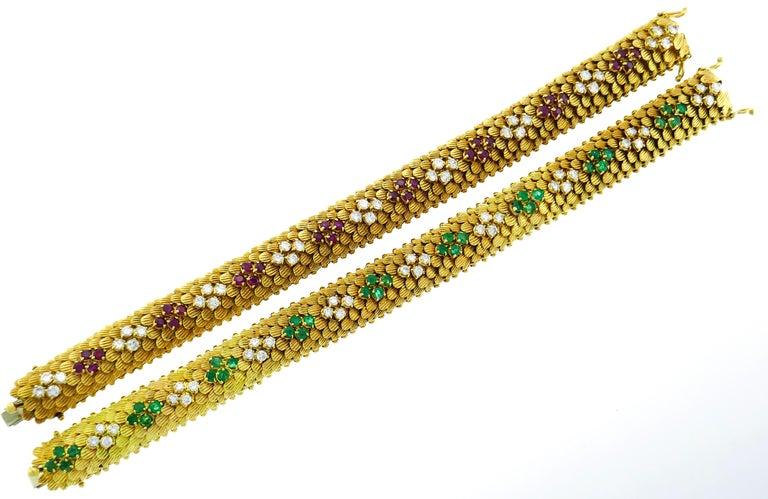 Bulgari Yellow Gold Bracelet Pair 1960s Bvlgari with Diamond Ruby Emerald 1