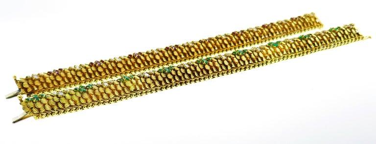 Bulgari Yellow Gold Bracelet Pair 1960s Bvlgari with Diamond Ruby Emerald 2