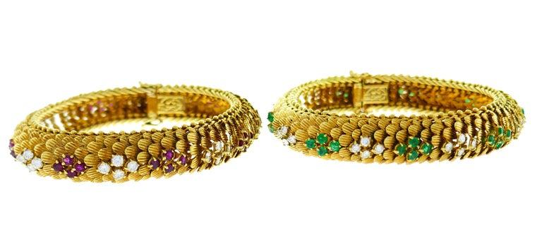 Bulgari Yellow Gold Bracelet Pair 1960s Bvlgari with Diamond Ruby Emerald 3