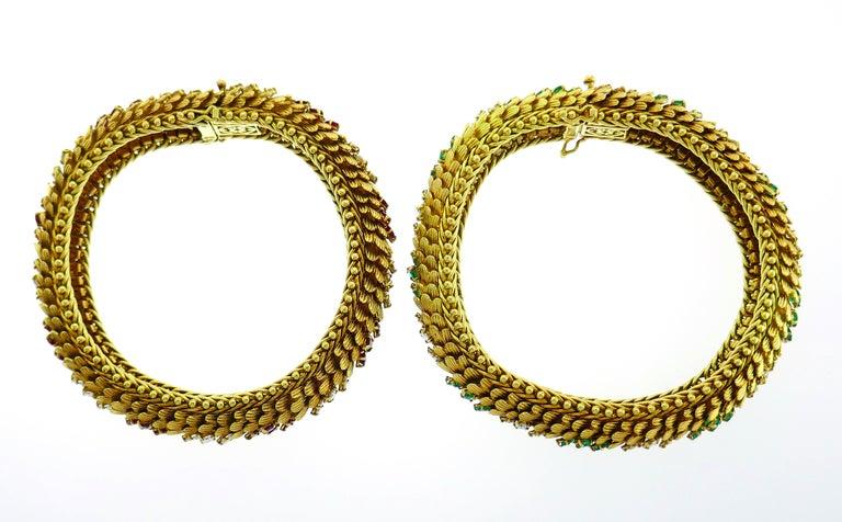 Bulgari Yellow Gold Bracelet Pair 1960s Bvlgari with Diamond Ruby Emerald 4