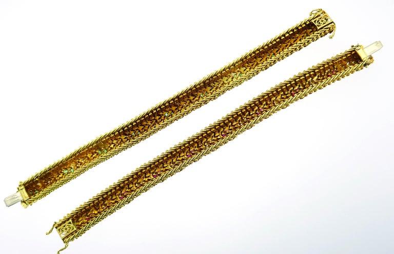Bulgari Yellow Gold Bracelet Pair 1960s Bvlgari with Diamond Ruby Emerald 5