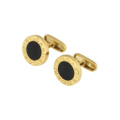 Bulgari Yellow Gold Bulgari Bulgari Onyx Cufflinks