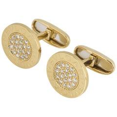 Bulgari Yellow Gold Diamond Cufflinks