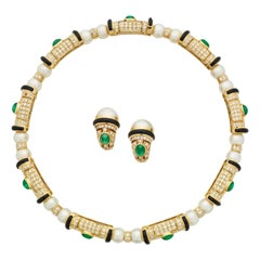 Bulgari Pearl Emerald Onyx and Diamond Necklace and Earrings in Yellow Gold
