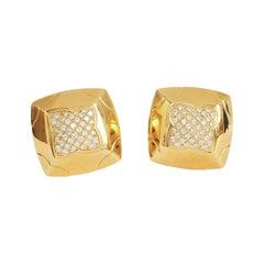Bulgari Yellow Gold Diamond Pyramide Earrings