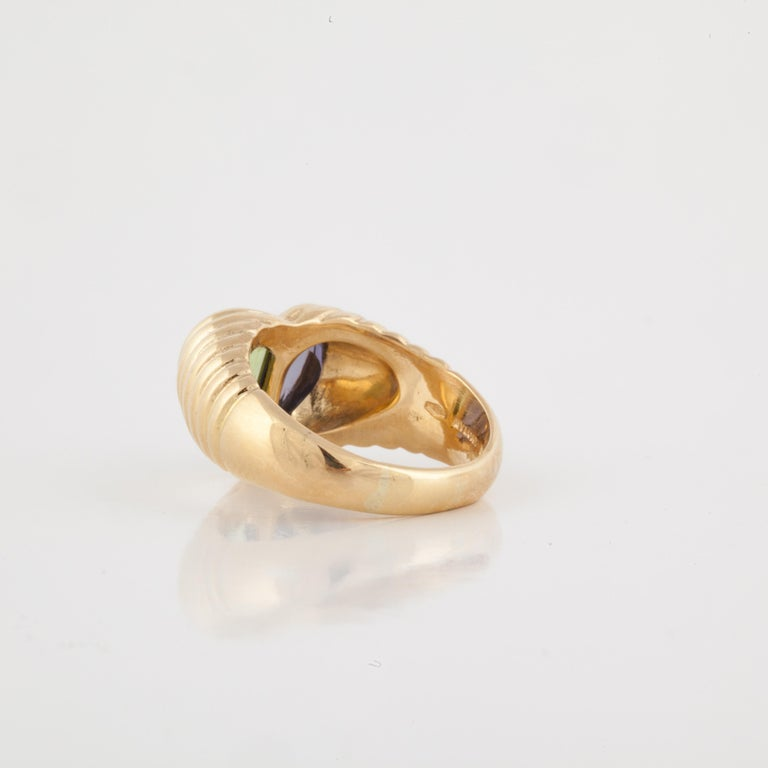 Bulgari Yellow Gold Heart Shaped Gemstone Ring In Good Condition For Sale In Houston, TX