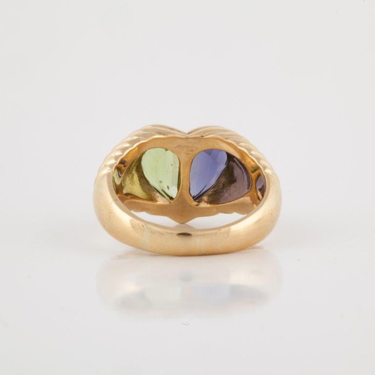 Women's Bulgari Yellow Gold Heart Shaped Gemstone Ring For Sale