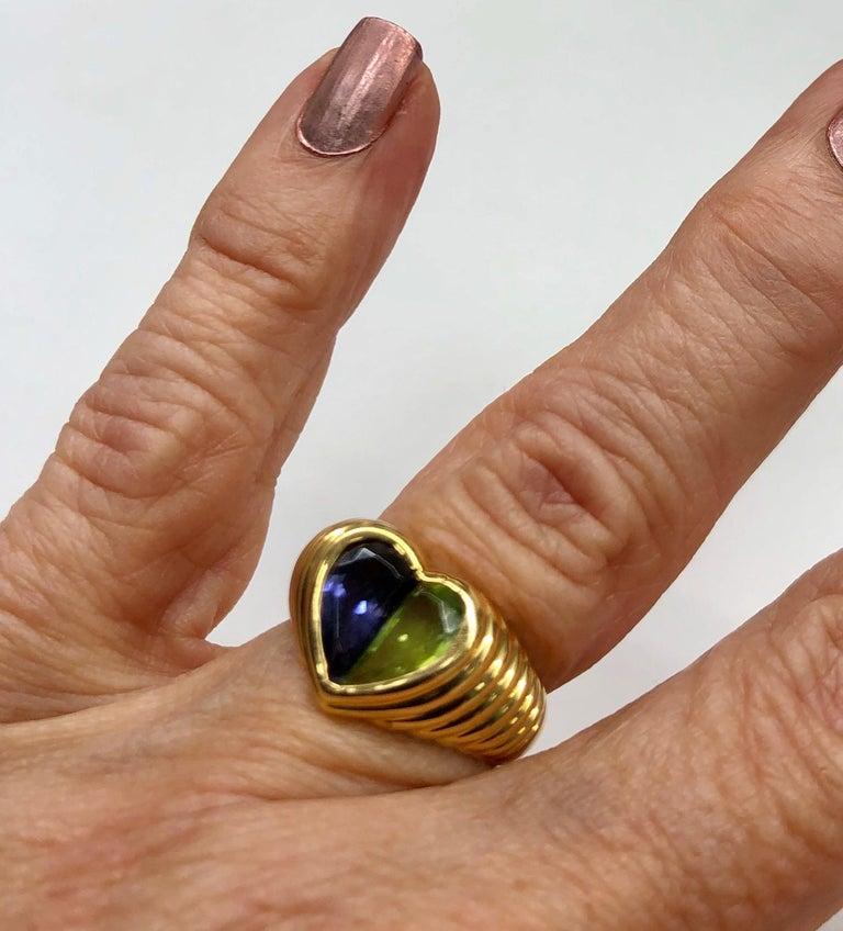 Bulgari Yellow Gold Heart Shaped Gemstone Ring For Sale 2