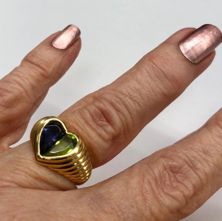 Bulgari Yellow Gold Heart Shaped Gemstone Ring For Sale 3