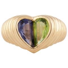 Bulgari Yellow Gold Heart Shaped Gemstone Ring