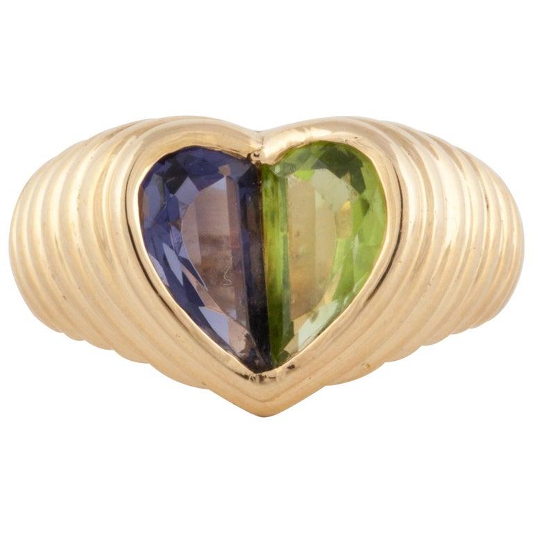 Bulgari Yellow Gold Heart Shaped Gemstone Ring For Sale