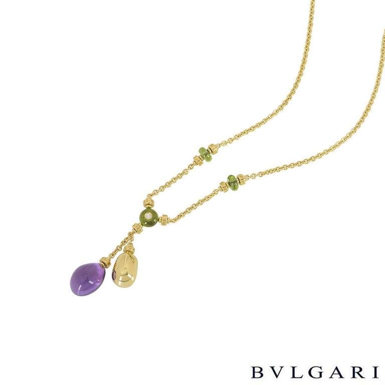 Round Cut Bulgari Yellow Gold Multi-Gemstone Mediterranean Eden Necklace For Sale