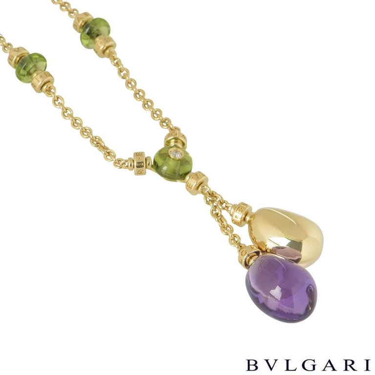 Bulgari Yellow Gold Multi-Gemstone Mediterranean Eden Necklace In Excellent Condition For Sale In London, GB