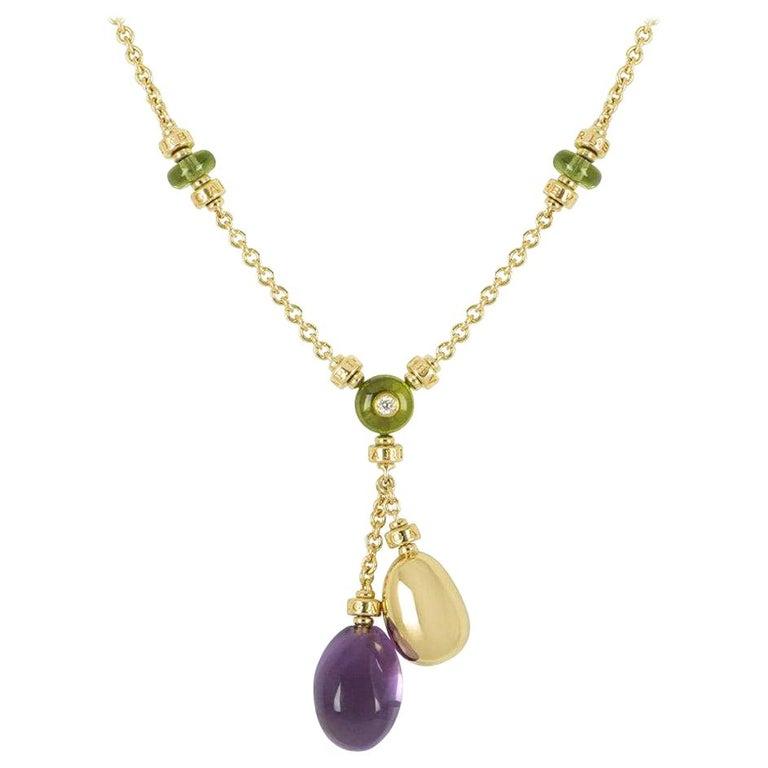 Bulgari Yellow Gold Multi-Gemstone Mediterranean Eden Necklace For Sale