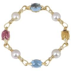 Bulgari Yellow Gold Pearl and Multi-Gem Allegra Bracelet