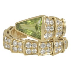 Bulgari Yellow Gold Peridot and Diamond Serpenti Ring