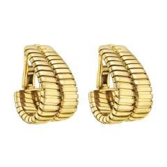 """Bulgari Yellow Gold """"Tubogas"""" Double Hoop Earrings"""