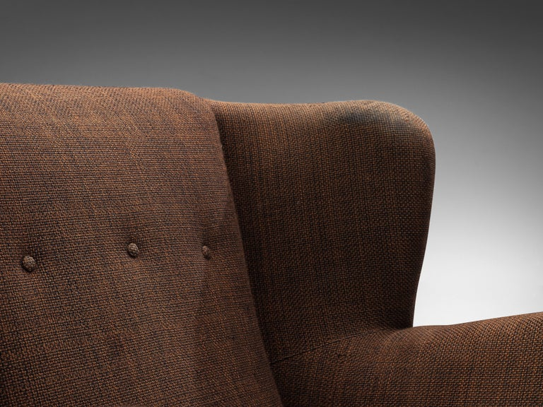 Mid-Century Modern Bulky Danish Lounge Chair in Dark Brown Fabric For Sale