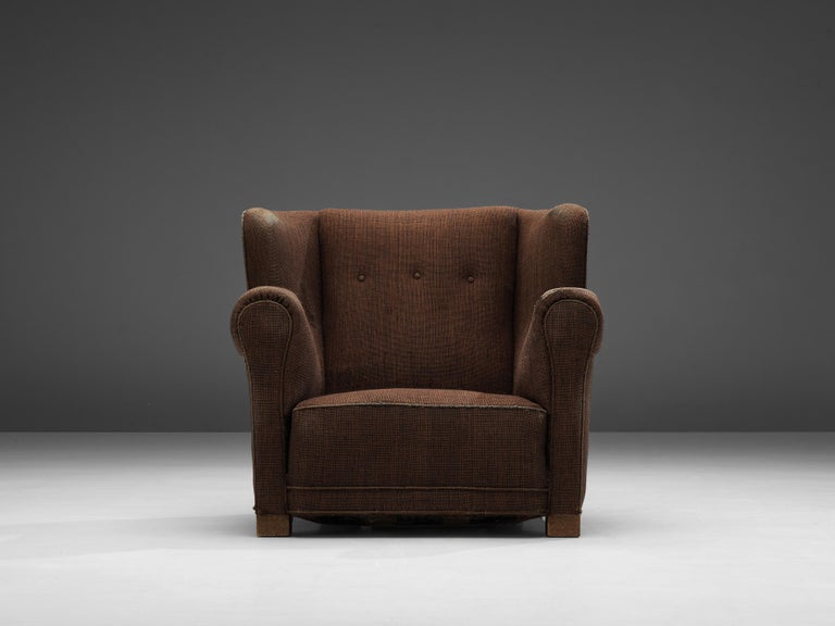 Bulky Danish Lounge Chair in Dark Brown Fabric In Good Condition For Sale In Waalwijk, NL