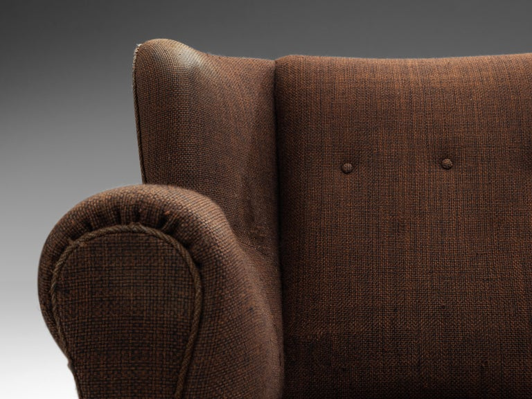 Mid-20th Century Bulky Danish Lounge Chair in Dark Brown Fabric For Sale