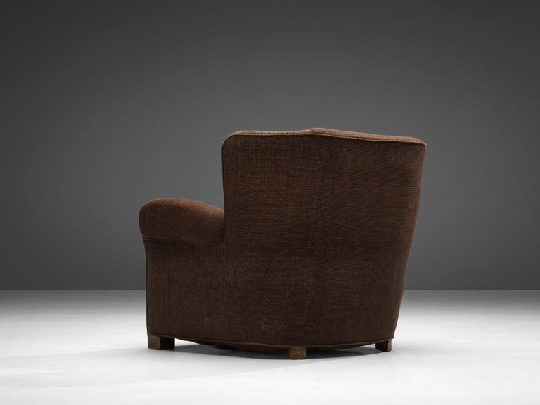Bulky Danish Lounge Chair in Dark Brown Fabric For Sale 1