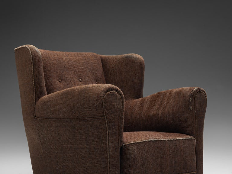 Bulky Danish Lounge Chair in Dark Brown Fabric For Sale 2