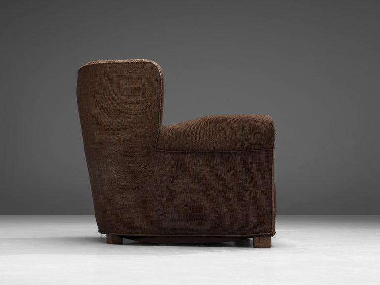 Bulky Danish Lounge Chair in Dark Brown Fabric For Sale 3