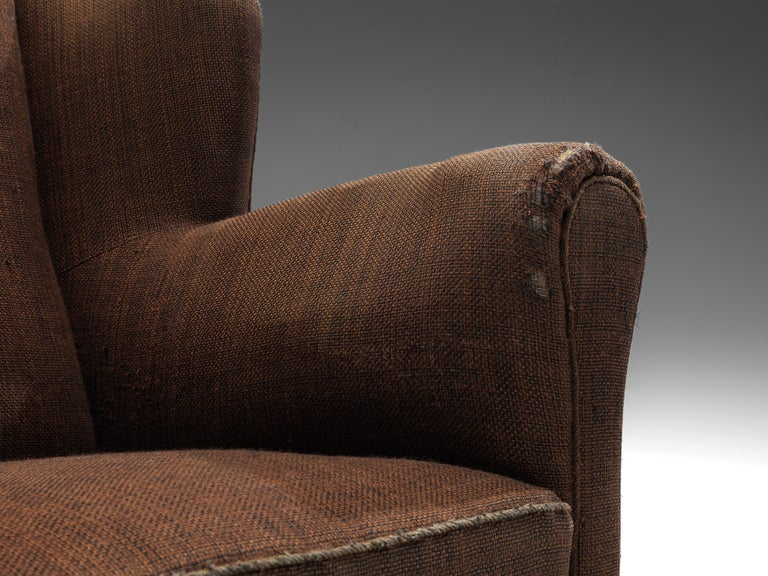 Bulky Danish Lounge Chair in Dark Brown Fabric For Sale 4