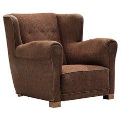 Bulky Danish Lounge Chair in Dark Brown Fabric