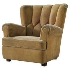 Bulky Danish Lounge Chair in Mustard Fabric