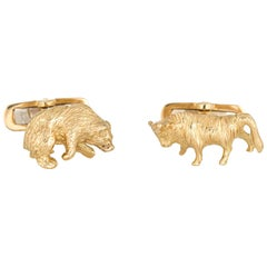 Bull Bear Cufflinks Vintage 18 Karat Gold Stock Market Stockbroker Men's Jewelry