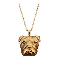Bull-Dog Diamond Cats Eye Chrysoberyl Gold Pendant