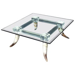 Bull Horns Shaped to Legs Lucite Stretchers Base Square Glass Top Coffee Table
