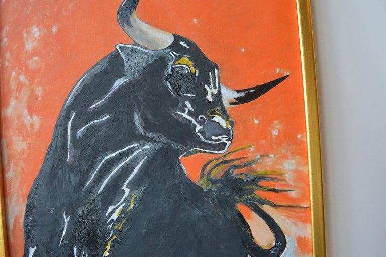 Contemporary Bull Oil Painting on Canvas For Sale