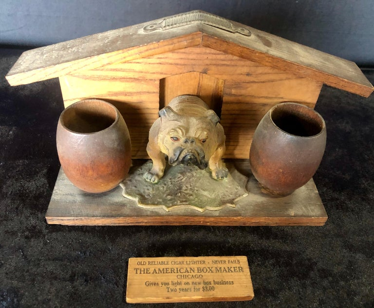 Folk Art Bulldog and Kennel Humidor Cover, Estate of Jerry Terranova For Sale