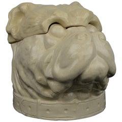 Bulldog Dog Tobacco Jar, Craquelé Porcelain, Art Deco, Belgium