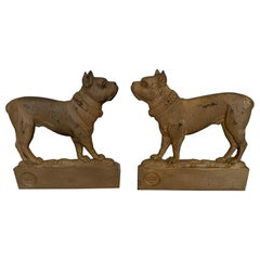 Bulldog Lovers Irresistible Pair of Antique Gilt Iron Doggie Bookends