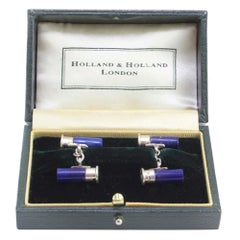 Bullet Cufflinks with Natural Lapis Lazuli by Holland & Holland