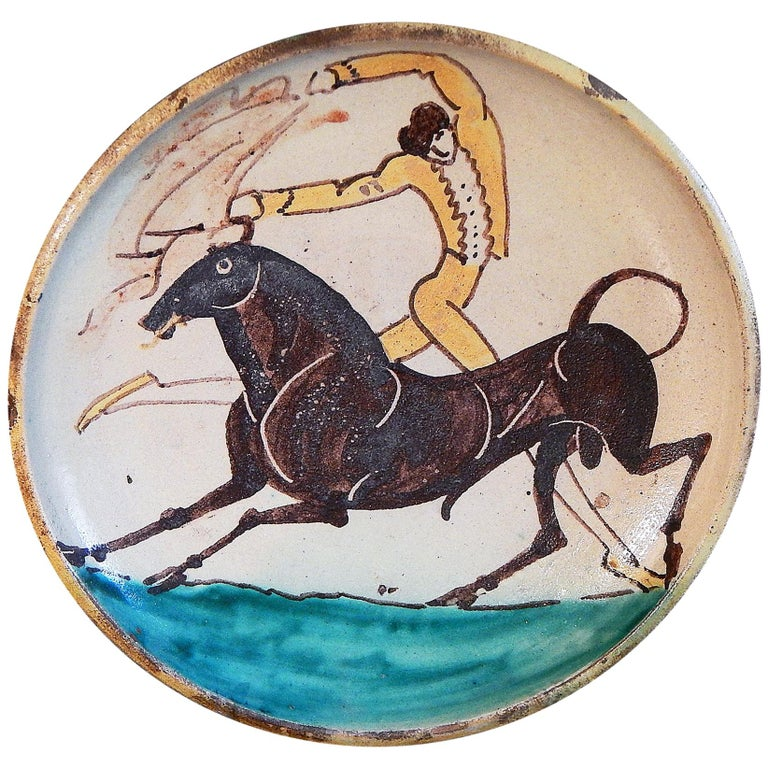 """""""Bullfighter and Bull,"""" Brilliant Art Deco Glazed Bowl by Diederich For Sale"""